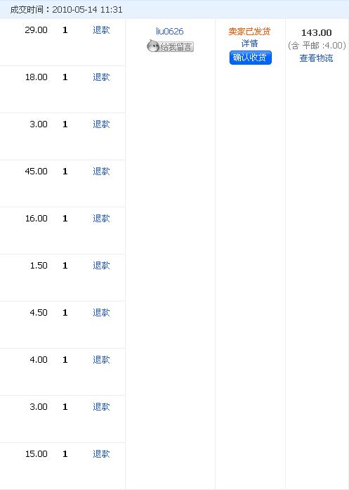 Taobao用户后台表格截图